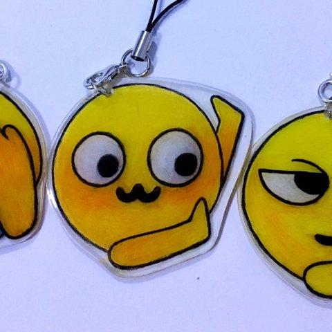 卡通 钥匙扣 黄色 笑脸 热缩片