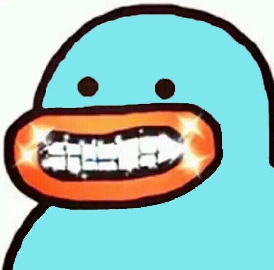 蓝鸭子 开心 笑容 可爱